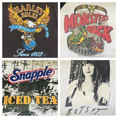 Harley Rules, Monsters Rock, Snapple Iced Tea, Betsey Johnson T-shirts headed to our SF shop