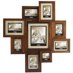 Rich, stained wood and burlap mats come together to create a timeless photo display. Perfect for a hallway, gallery or as the focal point of a room, this collage holds nine favorite photos in a range of sizes.