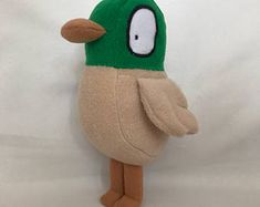 Big DUCK toy, inspired from Sarah and Duck show (Cbeebies) Sarah Duck, Big Duck, Duck Toy, New Green, Fleece Fabric, Cleaning Wipes, Dinosaur Stuffed Animal, Colours, Toys