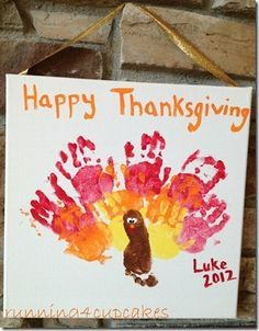 Thanksgiving Craft-- Could I get Adiyan to let me paint and print him like this?!? We'll never know 'till we try, right?! Hhh.