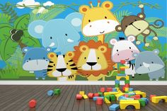 Stitched Jungle Animals Wallpaper Wall Mural. Colorful PlayroomKid ...