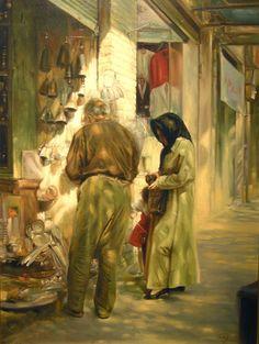 Small Shop (1996) Oil on canvas. by artist Morteza Katouzian.