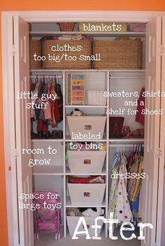 Kids closet organization