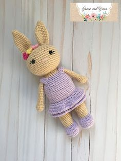 A free crochet pattern of a bunny girl. Do you also want to crochet this bunny girl? Read more about the Free Crochet Pattern Bunny Girl. Crochet Eyes, Crochet Bunny Pattern, Crochet Rabbit, Crochet Patterns Amigurumi, Crochet Dolls, Amigurumi Doll, Free Crochet, Bunny Girls, I Love This Yarn
