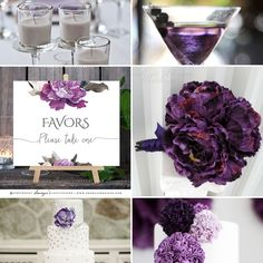 Purple Floral Wedding Signs, Purple Silver Grey Wedding Theme Moodboard #wedding #weddingideas #weddingdecor
