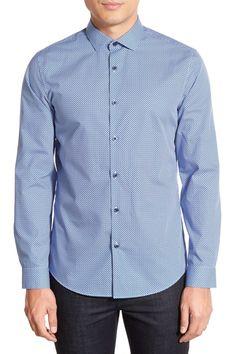 Trim Fit Dot Print Sport Shirt