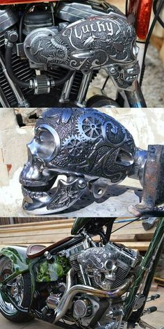 Custom Mechanic sugar skull motorcycle intake