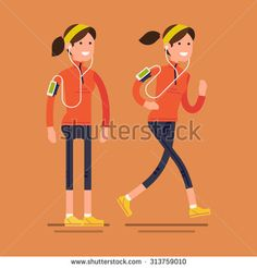 Lovely vector flat design on fitness workout running woman in fall autumn clothing outfit | Cold season outdoors run | Sport friendly smiling female character standing and running with earphones on - stock vector