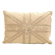 Velvet Diamante Union Jack Cushion, Cream by Jan Constantine