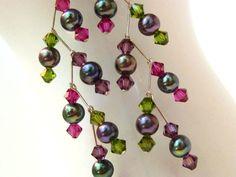Black Pearl Earrings Freshwater Pearl Earrings by MiaWinkJewelry, $24.00