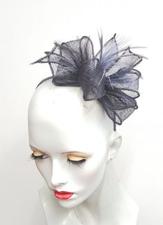Grey gunmetal sinamay and feather fascinator headband fixing ideal weddings and races by SHMillinery on Etsy