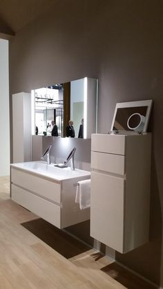 New for 2015, launched at ISH Frankfurt, the all new colour scheme for the amazing Burgbad Bel range, double basin, trademark illuminated cabinet, and the all new mid height cosmetic cupboard, in the stunning Opal White lacquer. #Burgbad #Bel #German #Luxury #Vanity #Furniture #Bolton #Bury #Manchester #Prestwich #Whitefield #Preston #Blackburn #Wigan #Lancashire #Wirral #Cheshire #Bathrooms