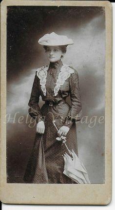 Antique small CDV/visit card nice, elegant lady in dotted dress, lace, umbrella Lace Corset, Dress Lace, Lace Umbrella, Elegant Girl, 2 Boys, Small One, Dot Dress, Winter Coat, Vintage Photos