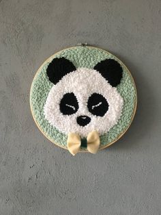 "Panda"" by DeMerEnFil (via Etsy). Punch Art, Punch Punch, Punch Needle Patterns, Tambour Embroidery, Black And White Background, World Crafts, Rug Hooking, Crochet, Couture"