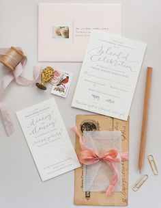 Oh So Beautiful Paper: Erin + Taylor's Romantic Blush and Gray Wedding Invitations
