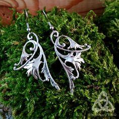 feaef7efe9a41 Boucles d oreilles Ailes de Fée longues argenté volute pendantes entrelacs  noeuds celtiques médiéval elfique