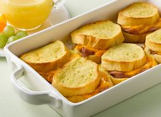Easy prepping the night before will start your morning off on a tasty note with this savory ham and cheese French toast dish.