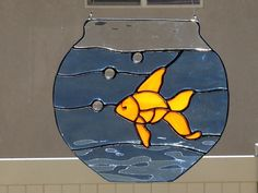 Stained Glass Goldfish In Bowl Suncatcher by FoxStainedGlass