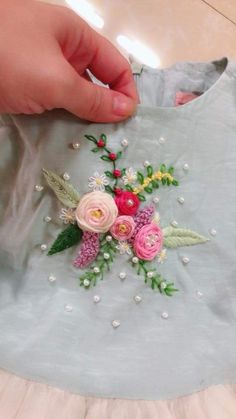 Aami the dream couture s 615 media analytics Hand Embroidery Patterns Flowers, Ribbon Embroidery Tutorial, Hand Embroidery Videos, Hand Work Embroidery, Embroidery On Clothes, Embroidery Flowers Pattern, Flower Embroidery Designs, Silk Ribbon Embroidery, Beaded Embroidery