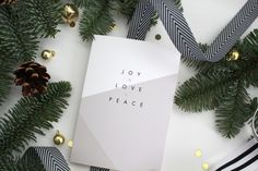 JOY LOVE PEACE // christmas card // winter card // holiday card // christmas card // holiday greeting card by kardzkouture on Etsy