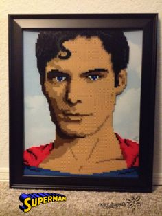 Christopher Reeve's 1978's Superman portrait in Perler Beads by RockerDragonfly