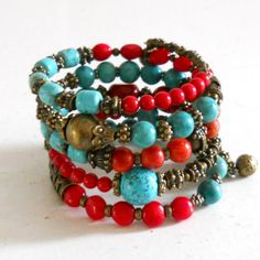 turquoise and red coral memory wire bracelet gypsy cuff bracelet bronze boho bracelet gypsy style