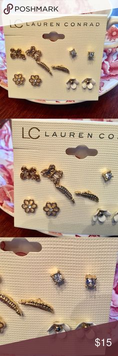 Lauren Conrad 5 Pair of Lovely Pierced Earrings  5 Pair of lovely small pierced earrings ! By Lauren Conrad ! There is Butterflies, Feathers, 2 Pairs of Flowers and a Pair of Diamond like studs ! All gorgeous ! All in gold tone !  LC Lauren Conrad Jewelry Earrings