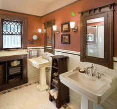 Craftsman Bathroom-Excellent use of craftsman detail in the custom medicine cabinets from Mitch Andrus Studios!