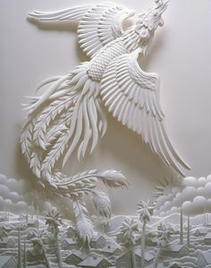 Native American - Paper Art Sculpture - title Offering the ...