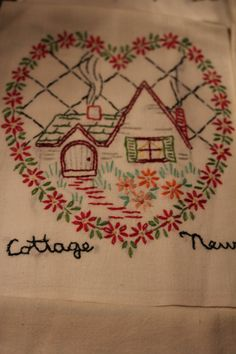 9 Embroidered Dish Towel Needlework Marriage Motiff by TalesofTime, $40.00