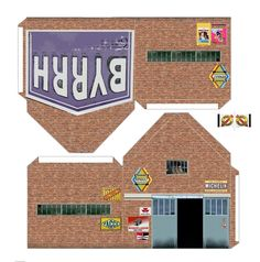 GARAGE EN BRIQUE - DECOUPAGES FACILES Model Building, Building A House, Tuile Canal, Free Paper Models, Paper Structure, House Template, Mini Things, Fortification, Model Homes