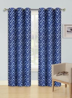 Gorgeous Home (F2) 2 PANELS ZIGZAG LINES PRINTED NAVY BLUE 63' SHORT SIZE THERMAL FOAM LINED BLACKOUT HEAVY THICK WINDOW CURTAIN DRAPES SILVER GROMMETS * Check this awesome product by going to the link at the image. (This is an affiliate link and I receive a commission for the sales)