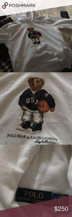 NWT Vintage Polo white teddy bear hoodie Large New with tags white polo teddy bear hoodie Polo by Ralph Lauren Sweaters