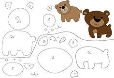 9 moldes de bichinhos para feltro - Feltro e moldes para artesanato Felt Animal Patterns, Felt Crafts Patterns, Stuffed Animal Patterns, Animal Templates, Felt Templates, Bear Template, Sewing Crafts, Sewing Projects, Bear Felt