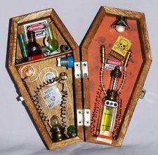 Miniature MAD SCIENTIST wood coffin box diorama dollhouse HALLOWEEN