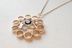 Modernist Geometric Silver Pendant Kultaseppä Salovaara