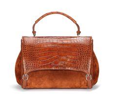Santoni | Hand #bag in suede, crocodile flap with a #doublebuckle. #1 #Santoni #Santonishoes #FW1516