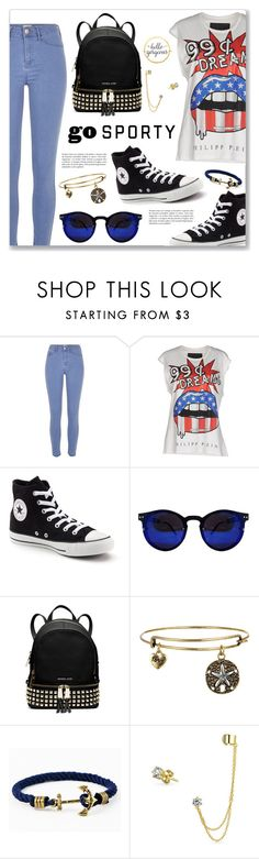 """Go Sporty!"" by dressedbyrose ❤ liked on Polyvore featuring River Island, Philipp Plein, Converse, MICHAEL Michael Kors, Kiel James Patrick and Bling Jewelry"