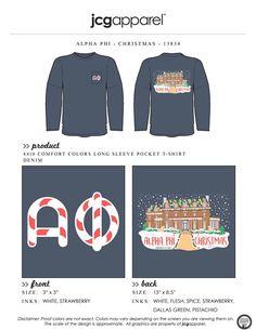 JCG Apparel : Custom Printed Apparel : Alpha Phi Christmas T-Shirt #alphaphi #christmas #house #ginger #bread #gingerbreadhouse #handdrawn