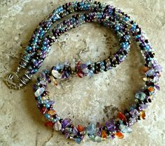 Multicolor glass chip beaded Kumihimo necklace by TheBeckoningCat, $135.00