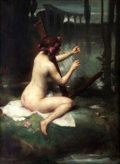 The Harp Player (1913). Adrien Henri Tanoux (1865–1923, French).