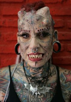 """The """" Vampire Woman """" from Mexico City. Total body modification - she's an attorney BTW"""