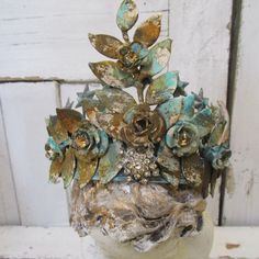 Brass statue crown tiara rusted embellished French Santos piece adorned with salvaged antique rhinestones items anita spero