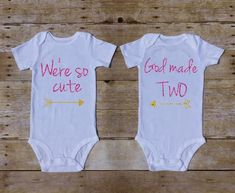 We're So Cute God Made Two Twin Outfit Twin Set of 2 Twin Shirts Twin Baby Girls Outfit Pink Gold Glitter Shirts Twin Baby Gifts by TwinDaisyDesigns on Etsy https://www.etsy.com/listing/453292636/were-so-cute-god-made-two-twin-outfit