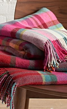 It's extremely rare to find a wool throw this sumptuously soft and in such brilliant colors.