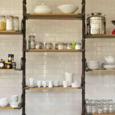 Mangerton House - Large Holiday House with pool - The Big Cottage Company - Kate & Tom's - Industrial style Kitchen Shelves at Mangerton House in Dorset