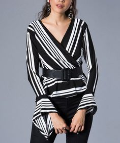 65f8aaf4737 Milan Kiss Black & White Stripe Bell-Sleeve Surplice Top - Women | zulily