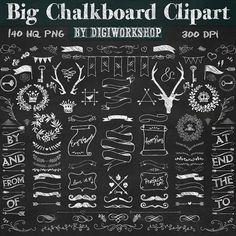 "Digital Chalkboard Clipart - ""Big Chalkboard Clipart"" big set with chalkboard laurels, chalkboard flourishes, banners, frames - 25%!"