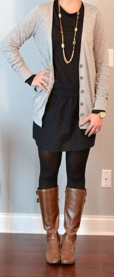 Cardigan, navy dress, tights, boots
