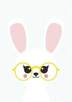 Postkaart bunny Ansichtkaart met vrolijk konijn is geschikt voor elke gelegenheid en iedereen.
